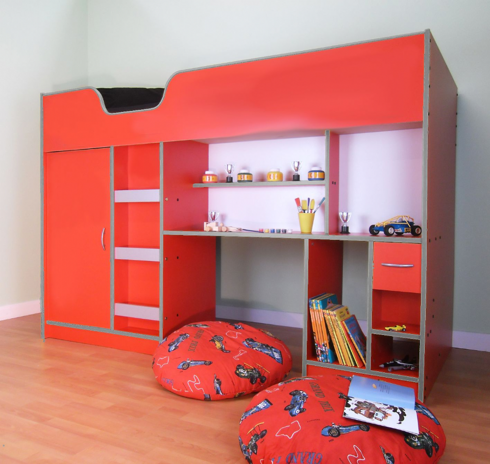 Lifestyle Children's High Sleeper, Cabin Bed, Red